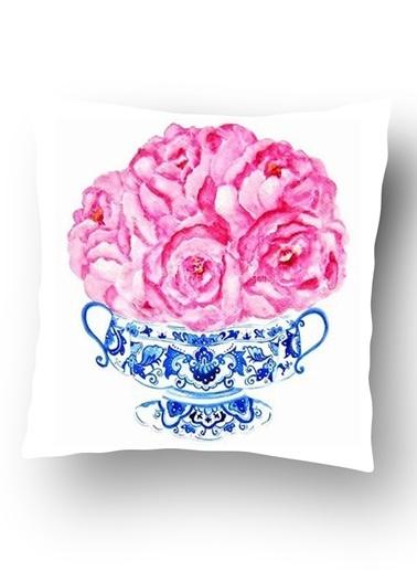 Lyn Home & Decor Mavi Çini Vazo Pembe Güller Yastık Kılıfı Renkli